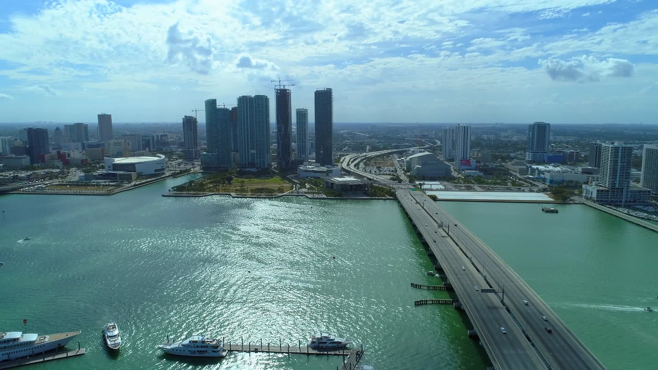 Aerial video Downtown Miami