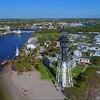 Aerial orbit approach video Hillsboro Inlet Lighthouse FL 4k 60p