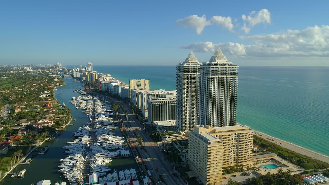 Miami Beach condos and luxury yachts 4k 60p