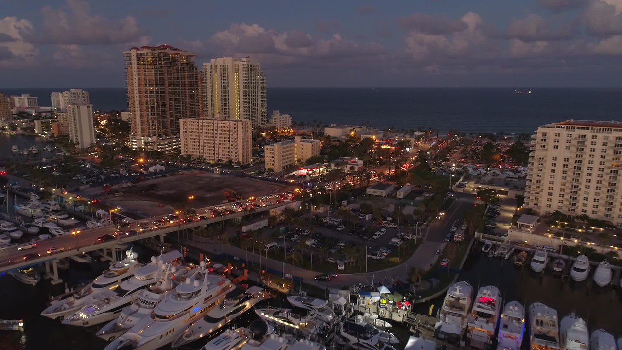 Aerial night footage Fort Lauderdale Beach FL