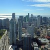 Aerial video bank buildings Downtown Miami high above 4k