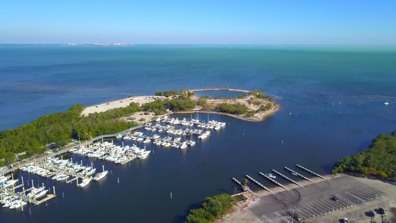 Aerial video of a Florida marina with boats nature scene 4k