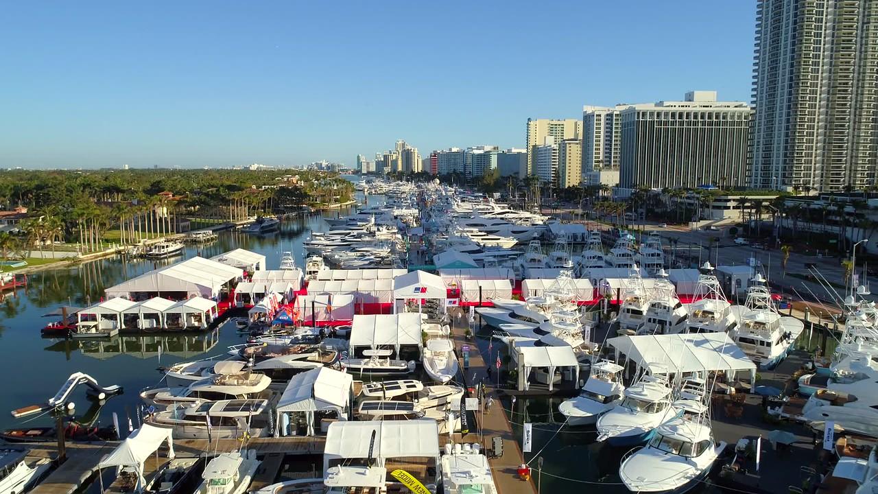Drone Miami Beach boat show 2018 flyover