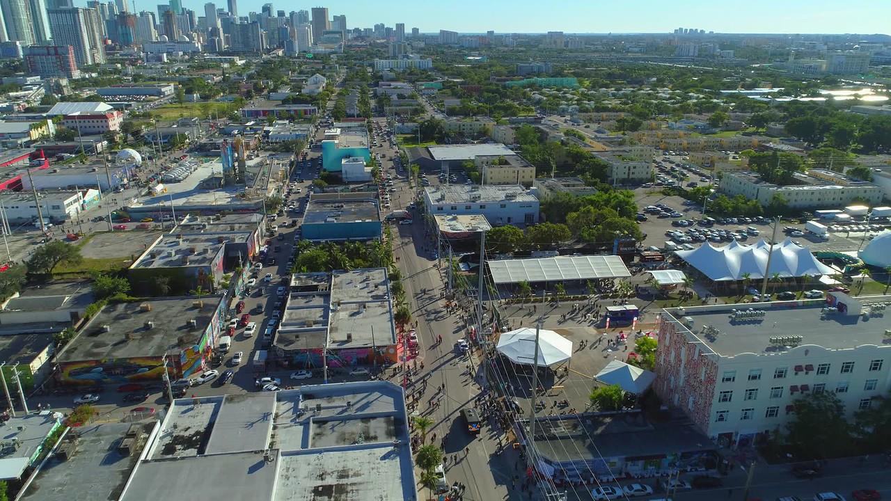 Aerial tour Art Basel Miami FL 4k 24p footage