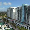 Aerial cinematic flyover reveal Sunset Harbour Marina Miami Beach Florida USA
