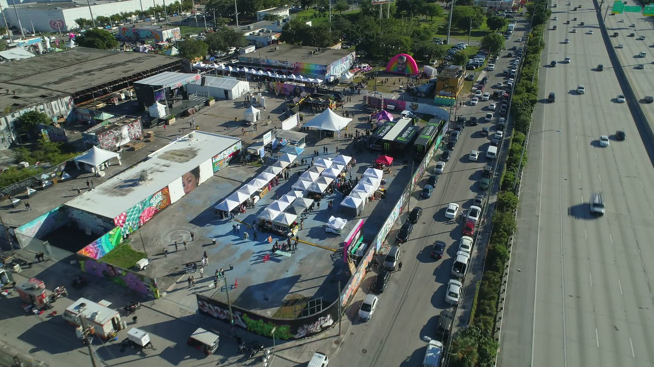 Aerial video block party Wynwood Miami