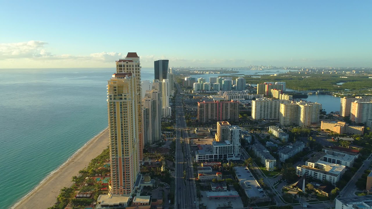 Aerial video tall buildings Sunny Isles Beach FL 4k