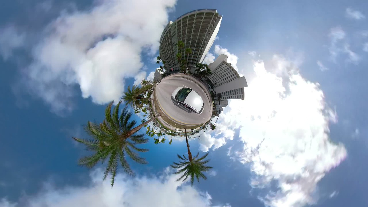 Motion video car driving on a miniature planet Miami Beach Florida USA