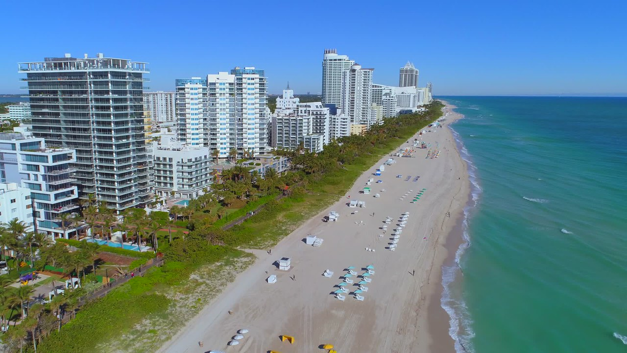 Aerial establishing video Miami Beach midbeach 4k 24p