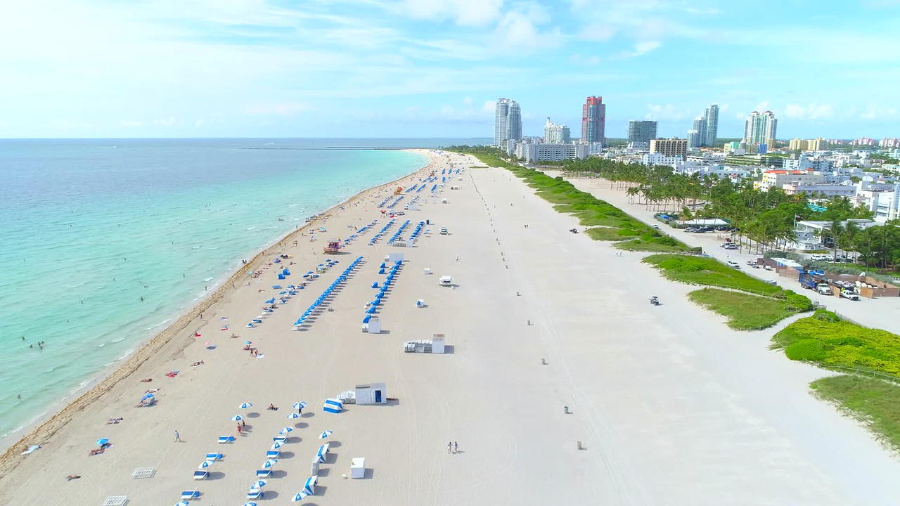 Drone aerial beautiful day in Miami