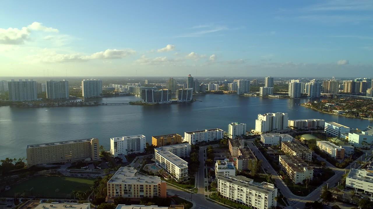 Aerial drone footage Prive Island Aventura Intracoastal Waterway dusk