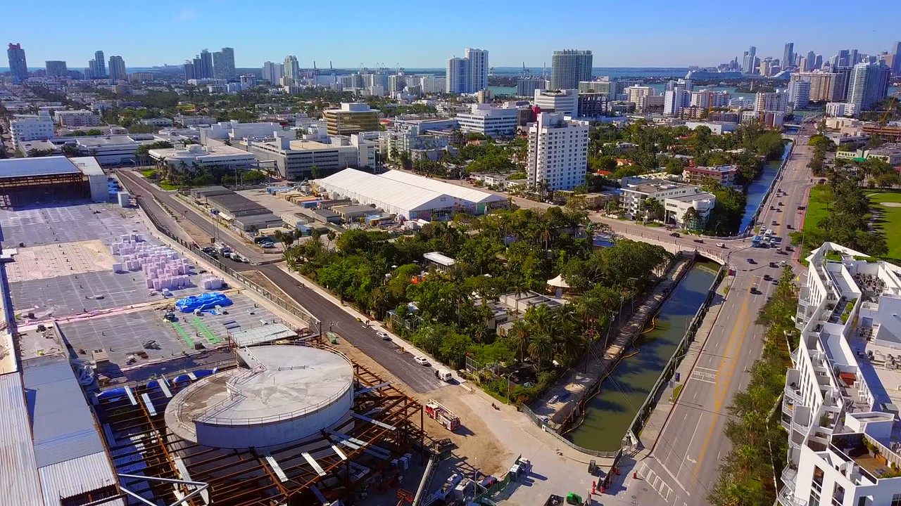 Aerial video Botanical Gardens and Holocaust Memorial Miami Beach 4k 24p