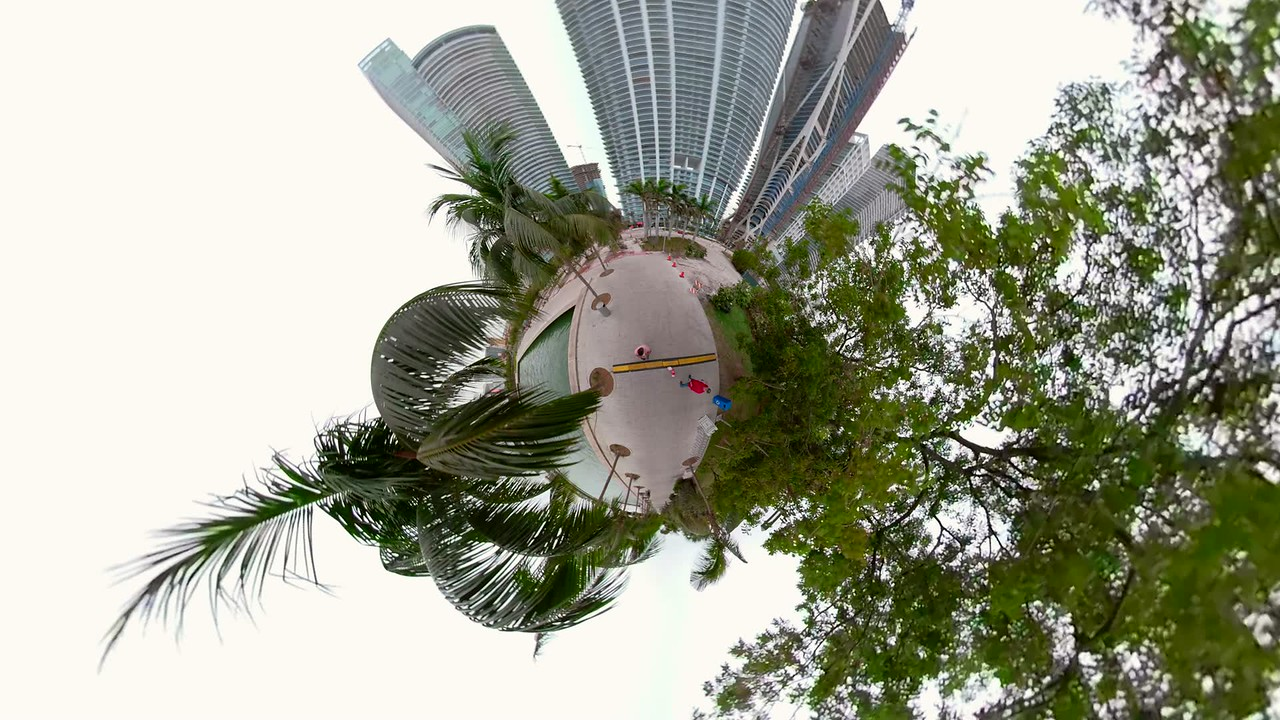 Tiny miniature planet of palm trees
