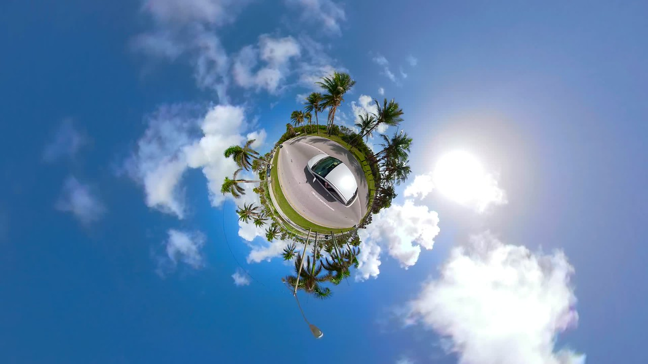 Motion footage car on a tiny planet in motion 4k