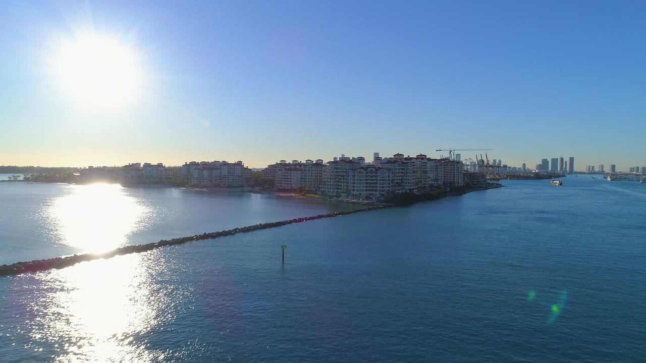 Miami Beach aerial sunset Fisher Island 4k 24p