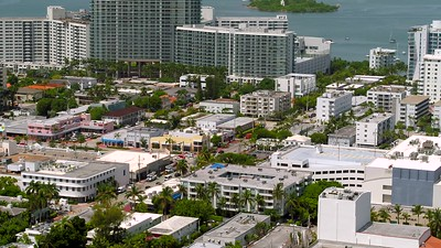 Scenic aerial drone footage Miami Beach residential apartments by Biscayne Bay
