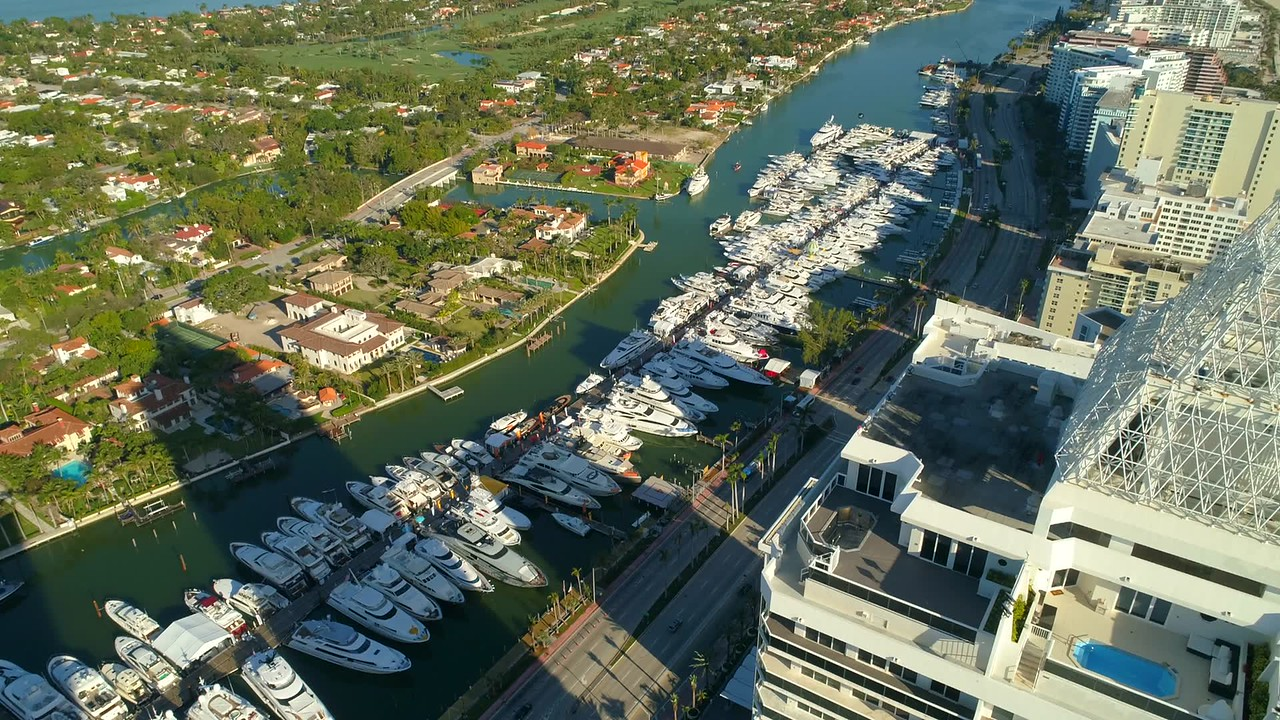 Birdseye view of the Miami Beach boat show static video