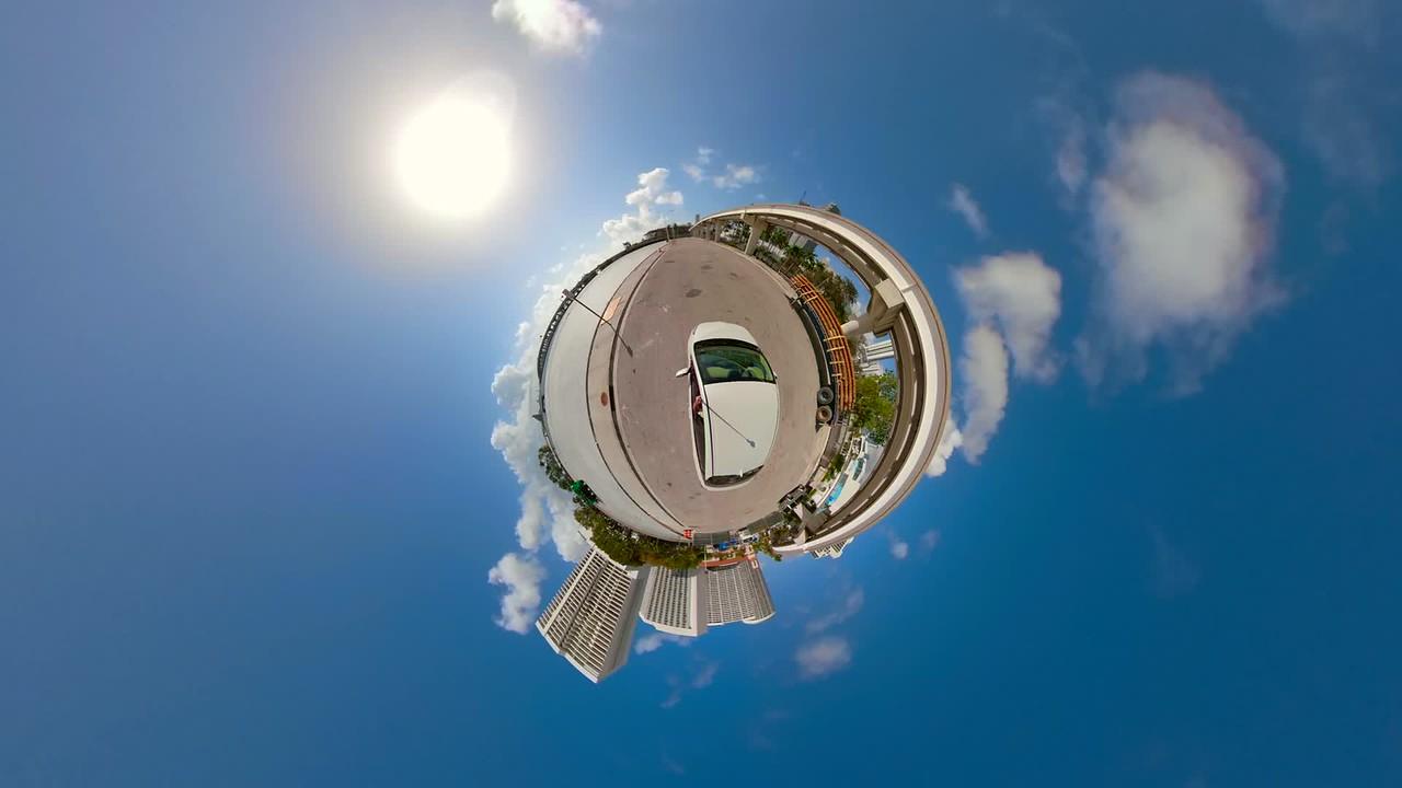 Tiny planet Miami metrorail motion video