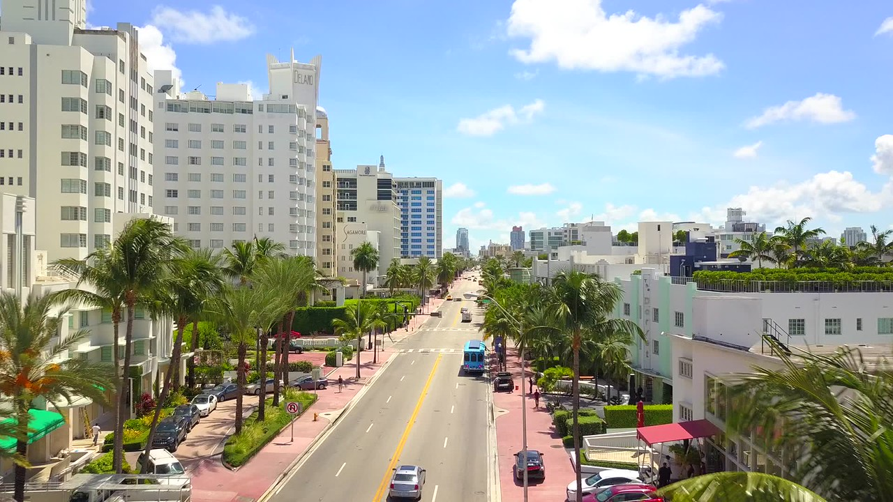 Aerial drone shot Collins Avenue Miami Beach