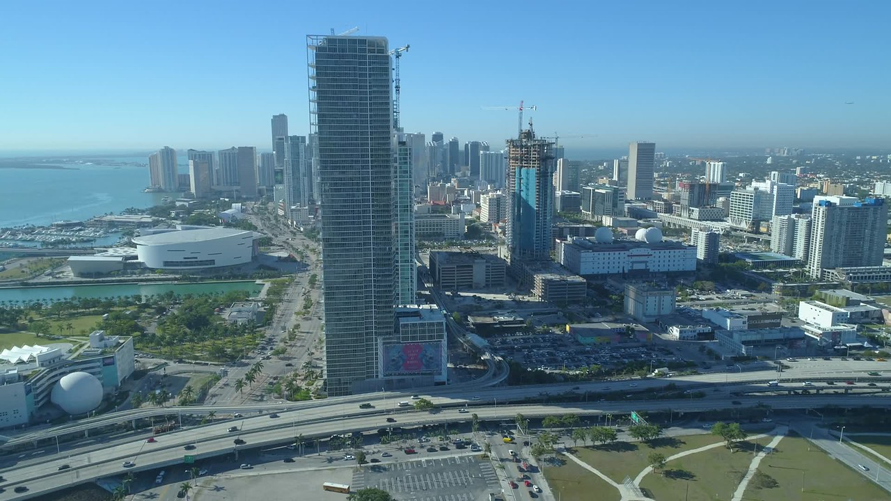 Aerial hyperlapse footage Downtown Miami 1000 Museum rooftop construction 4k 60p