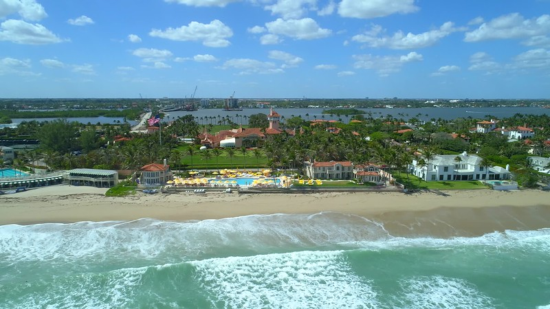 Aerial clip establishing shot Mar A Lago resort Palm Beach Florida