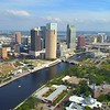 Drone approaching Downtown Tampa aerial video 4k 60p