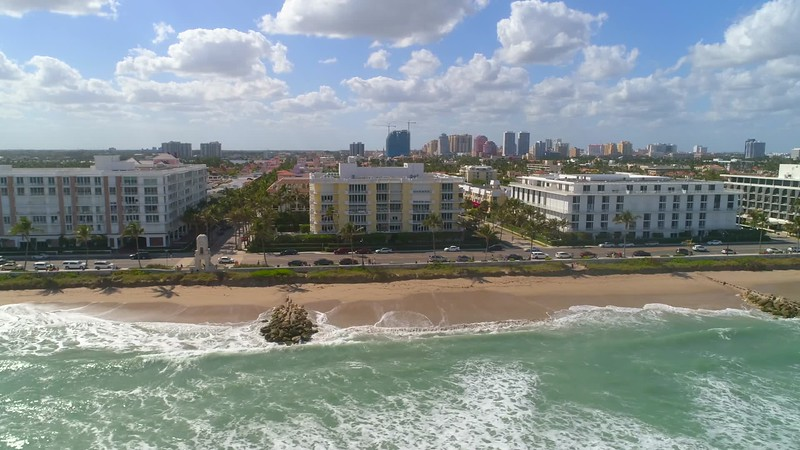 Condos in Palm Beach aerial drone video 4k