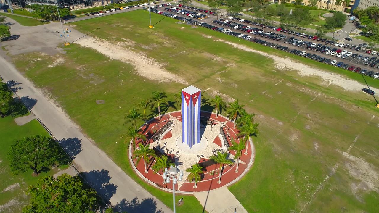 Aerial orbit video Cuban Memorial Monument FIU Miami 4k