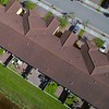 Aerial direct flyover drone residential neighborhood