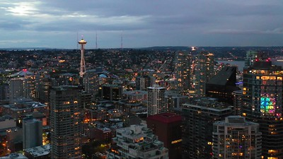 Twilight aerial footage Seattle WA