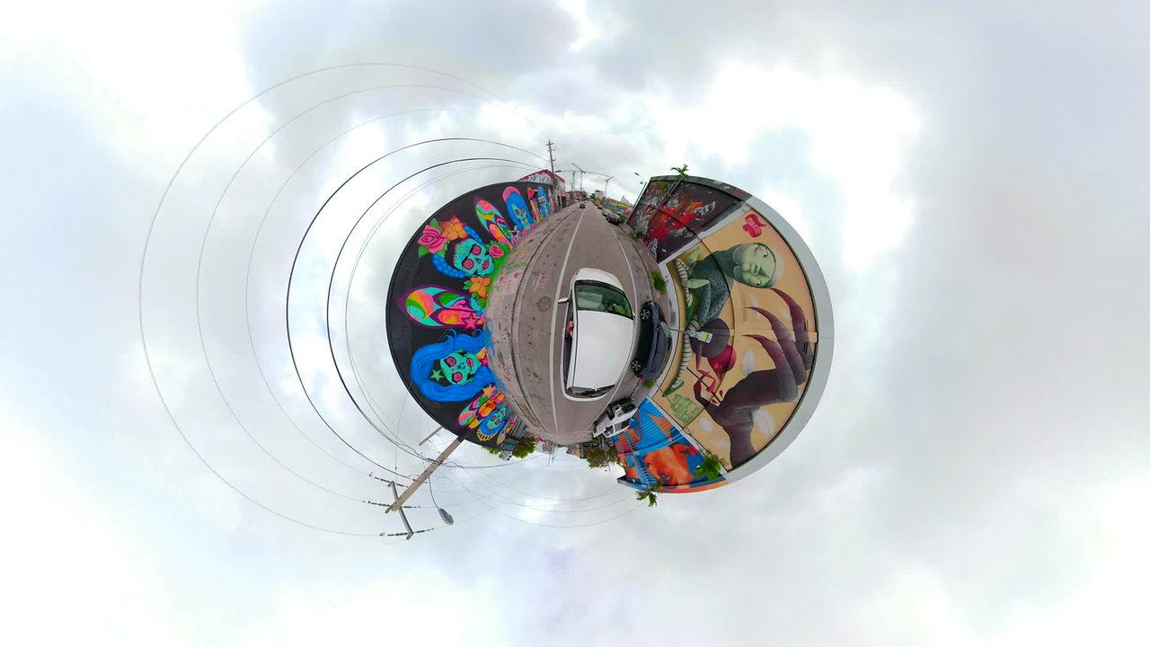 Tiny planet 360 video Wynwood Miami Florida driving
