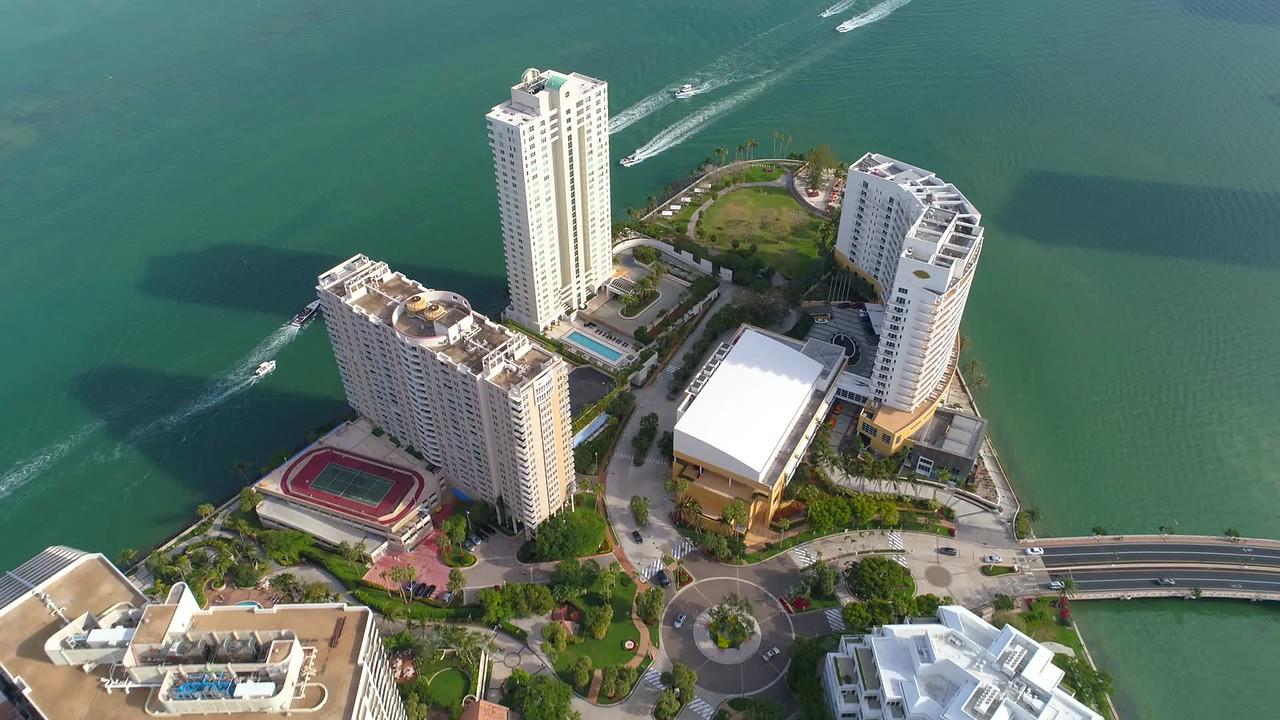 Brickell Key Miami Florida drone aerial video
