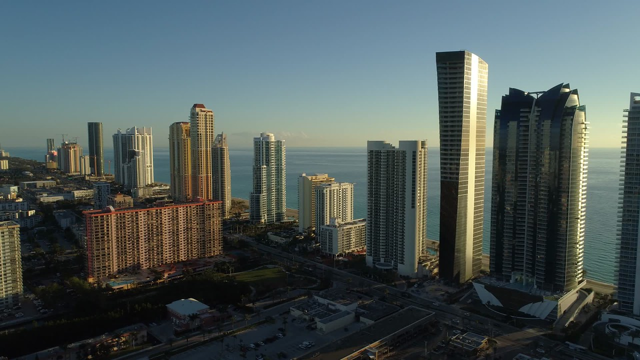 Drone stock footage Sunny Isles Beach Florida United States America 4k