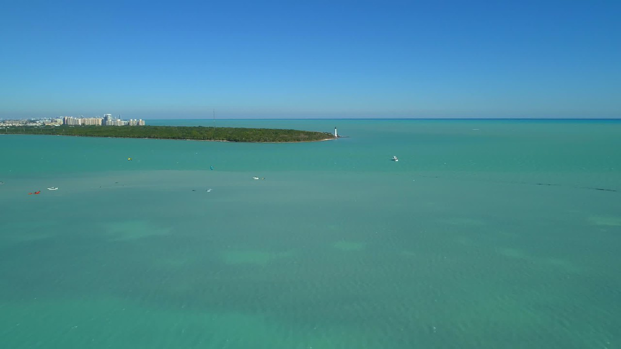 Aerial video Cape Florida Bill Baggs State Park lighthouse