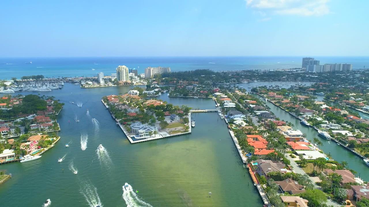 Aerial Fort Lauderdale manmade islands luxury mansions