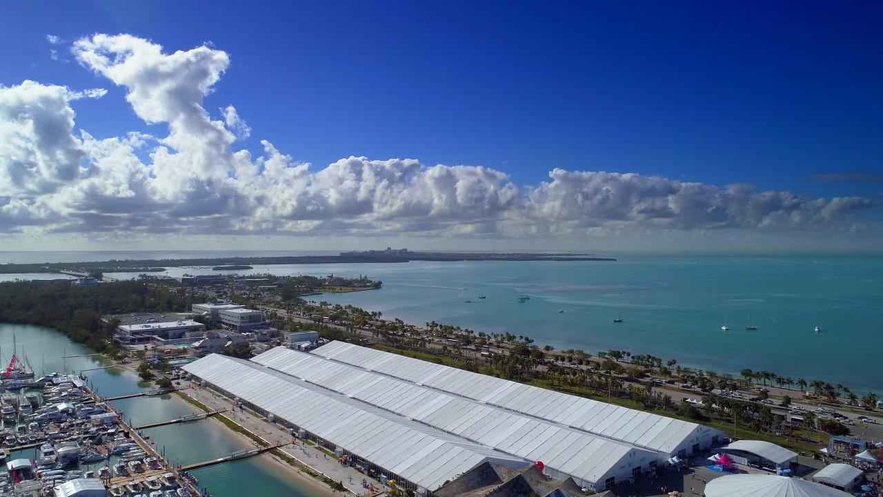 Aerial drone footage 2018 Miami International Boat Show Marine Stadium 4k
