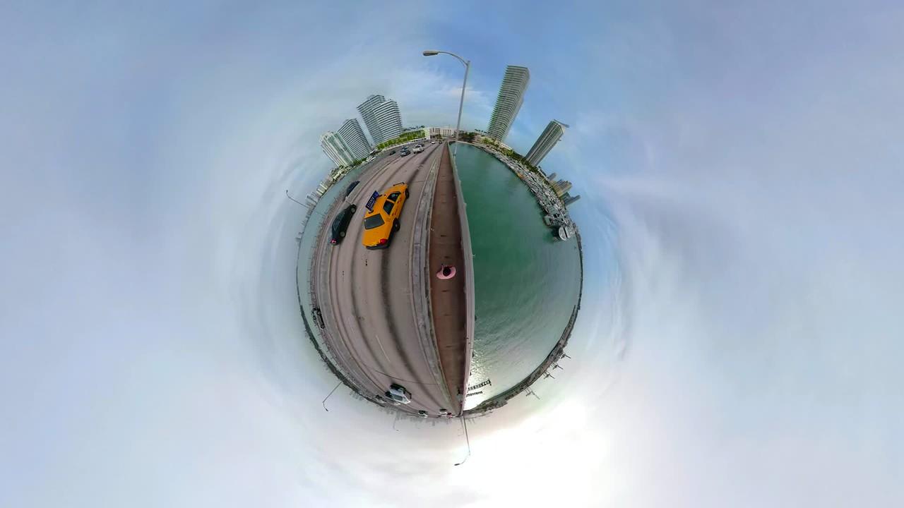 Tiny miniature planet Macarthur Causeway Bridge Miami Biscayne Bay