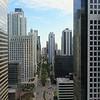 Aerial between skyscrapers Miami