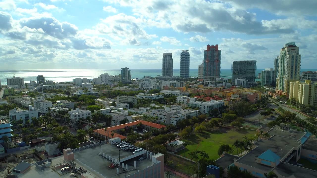 Drone stock Miami Beach Florida 4k 24p