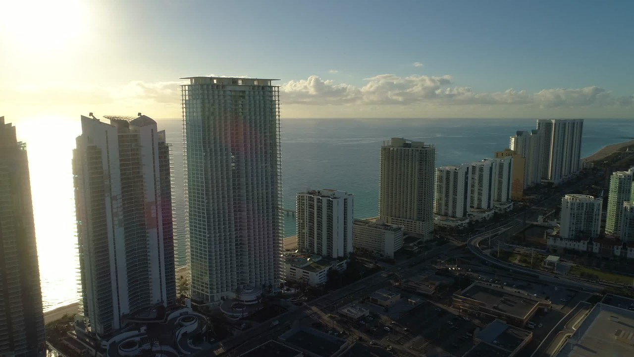 Modern skyscrapers Sunny Isles Beach FL aerial motion video