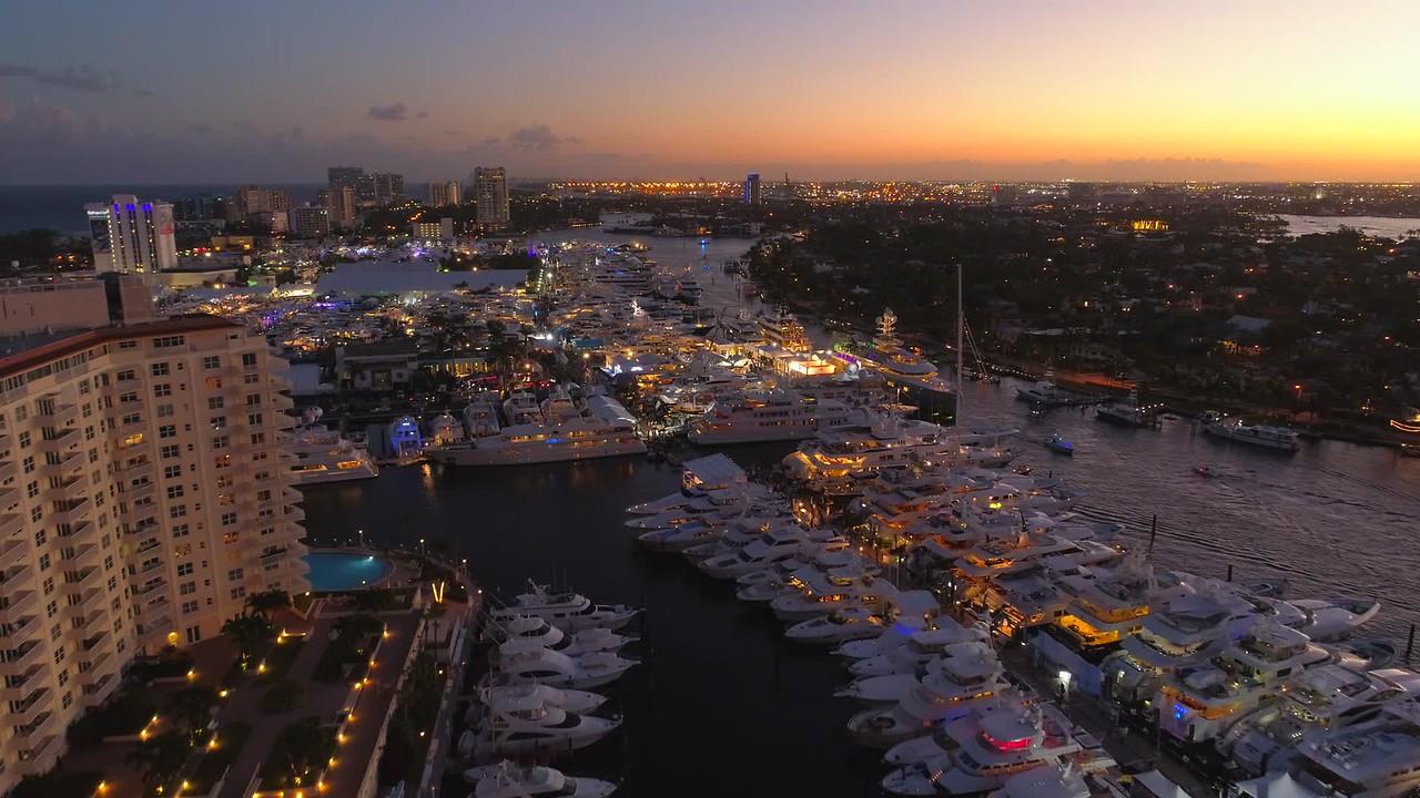 Amazing twilight aerial Fort Lauderdale Boat Show 2017