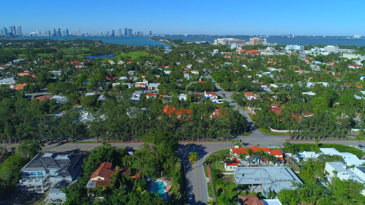 Aerial video luxury Miami Beach homes