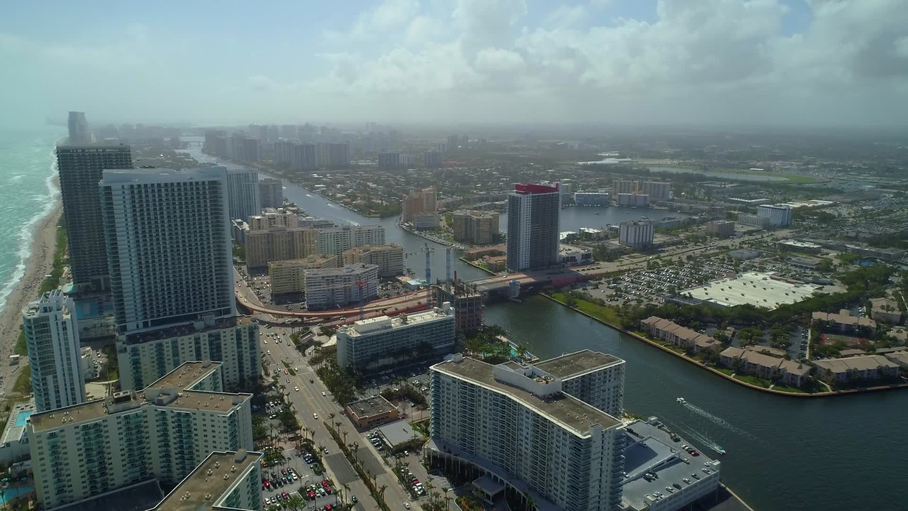 Aerial establishing footage Hallandale Beach Florida USA