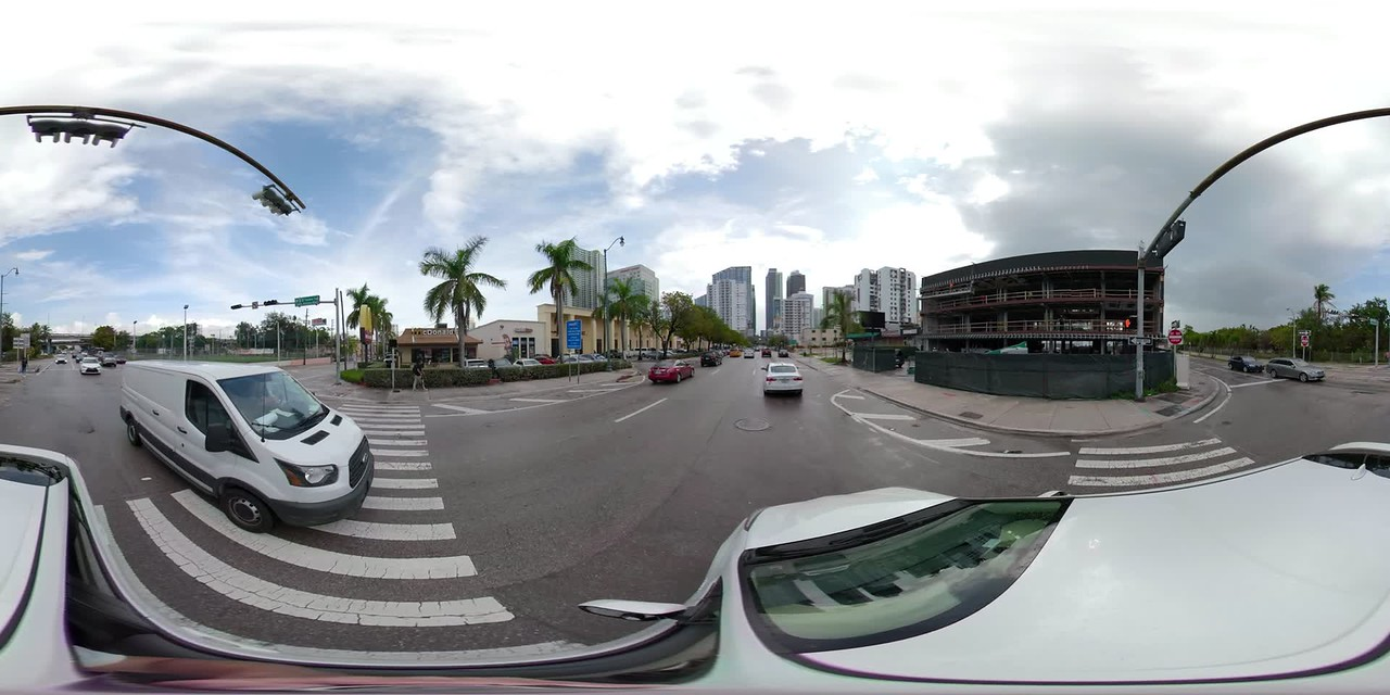 Driving on 8th Street towards Downtown Brickell shot on a 360vr stabilized camera