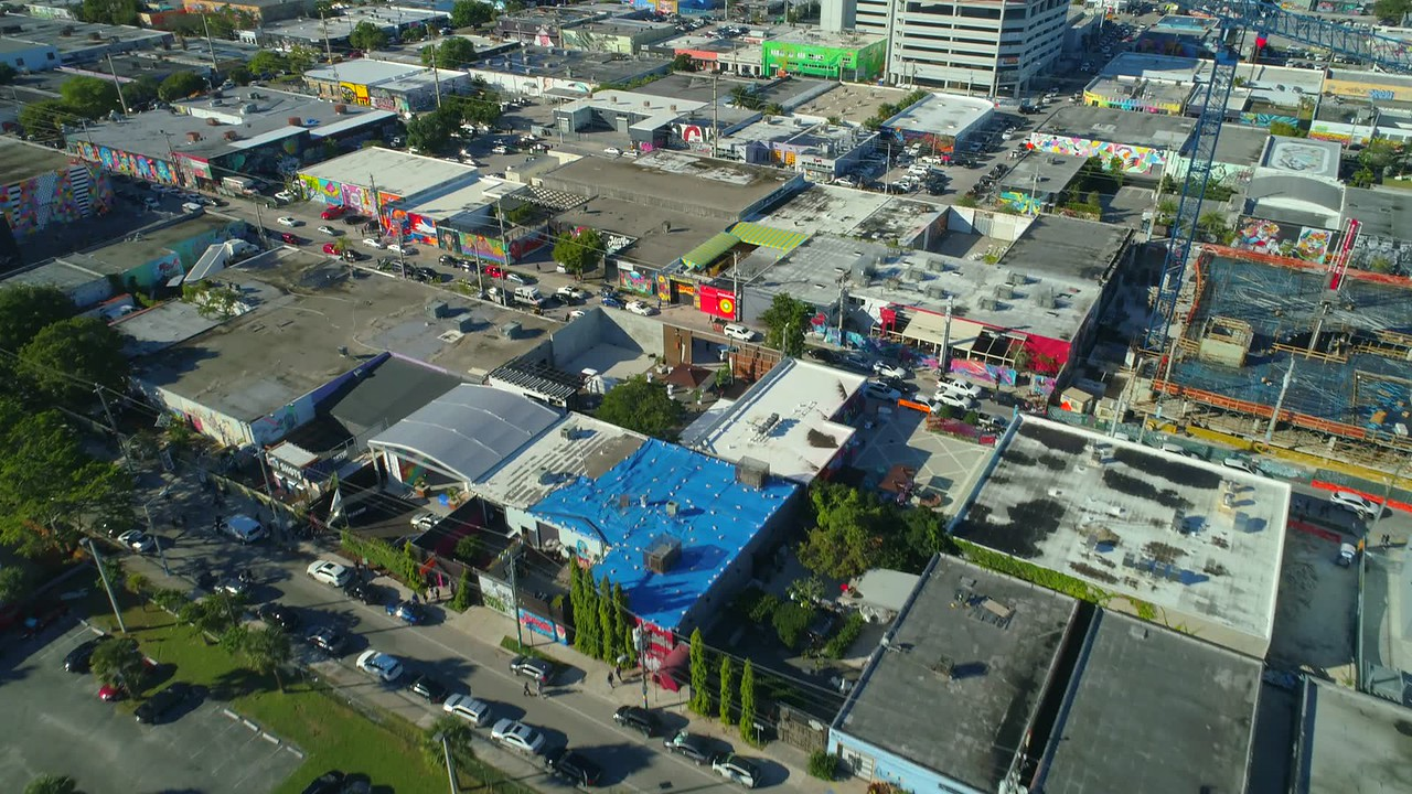 Aerial city shot Wynwood Miami FL
