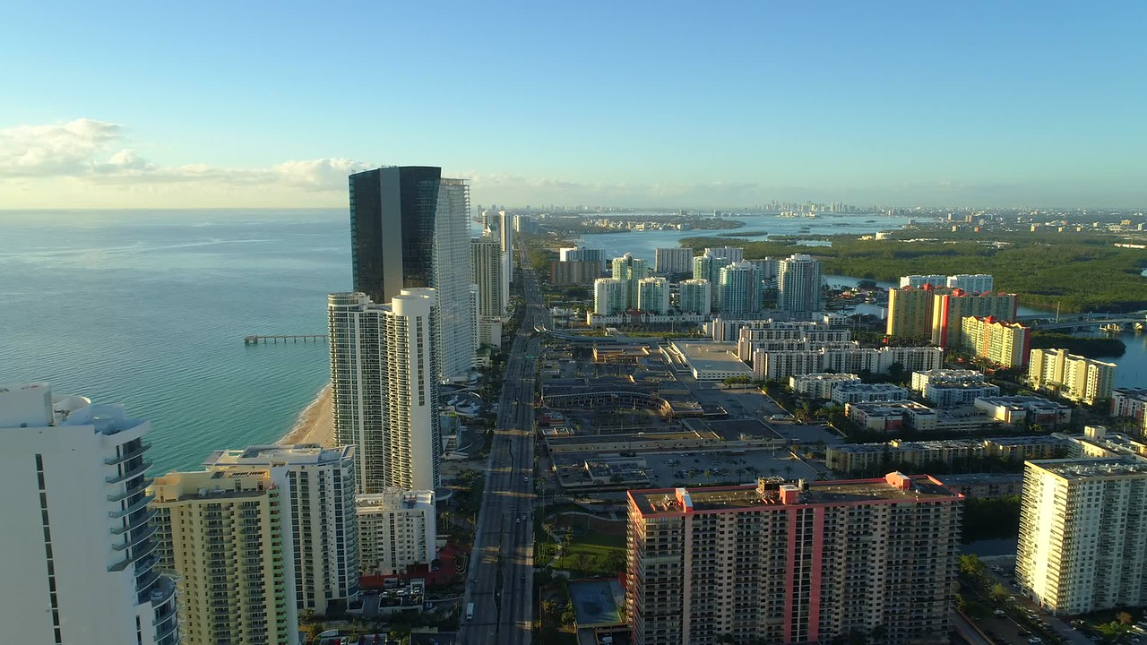 Sunny Isles Beach FL establishing shot stock footage