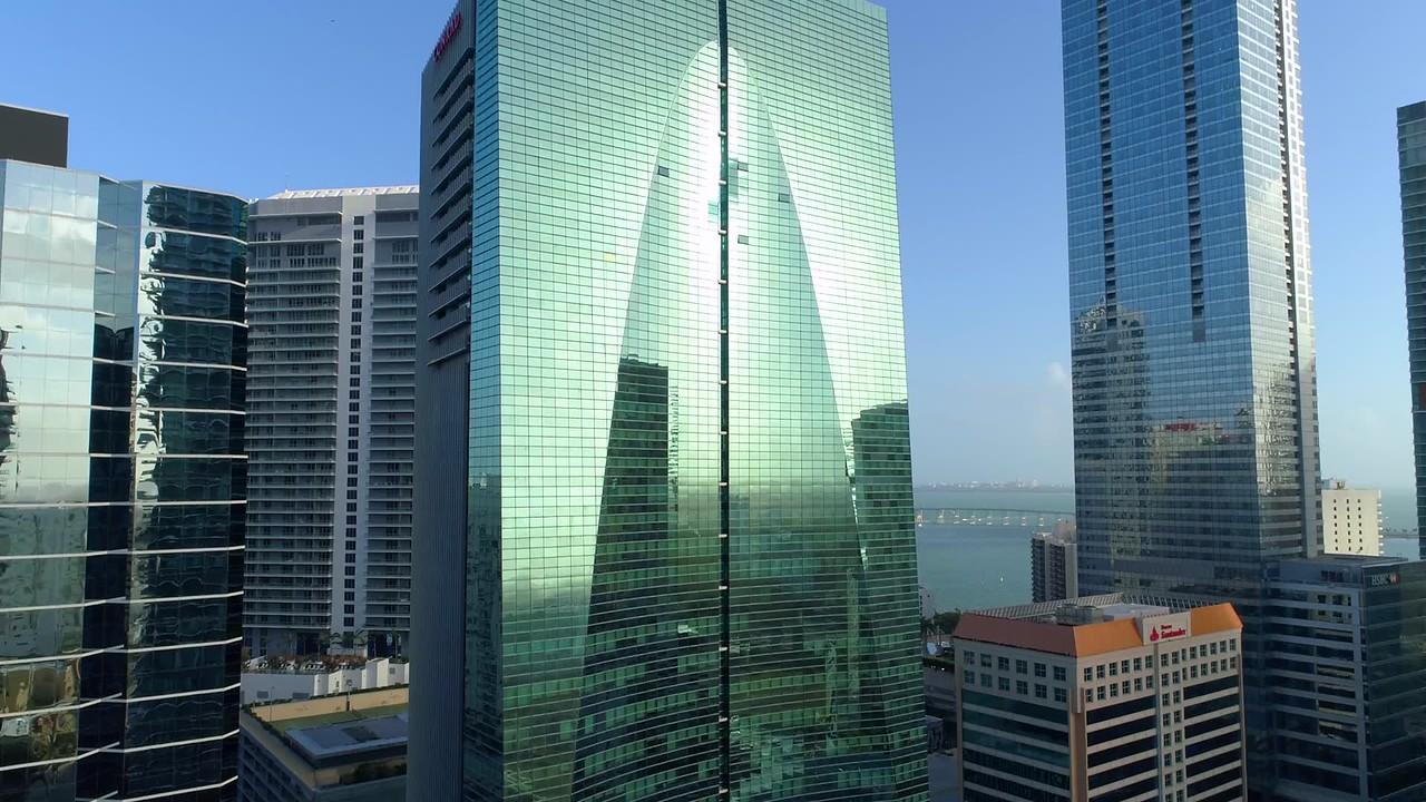 Aerial drone footage Brickell Miami Florida Arch tower 4k 60p