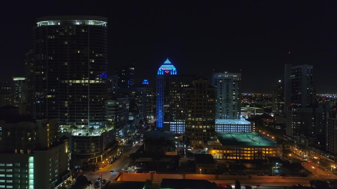 Aerial night shot Bank of America Fort Lauderdale FL