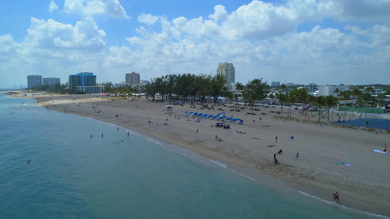 Aerial drone video Florida Aids Walk concert Fort Lauderdale Beach 4k 60p