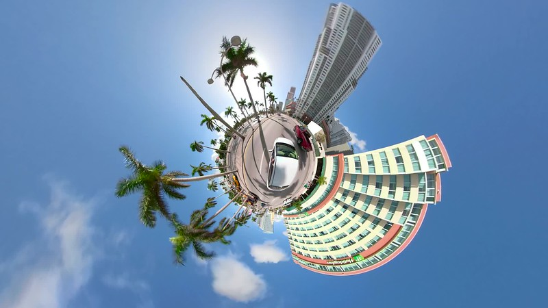 Tiny planet driving at Downtown Miami Florida United States 4k